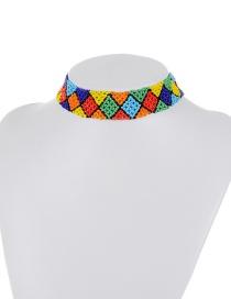 Retro Multi-color Diamond Shape Decorated Simple Color-matching Choker