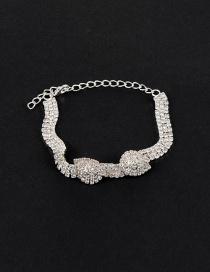 Elegant Silver Color Pure Color Decorated Simple Multilayer Bracelet
