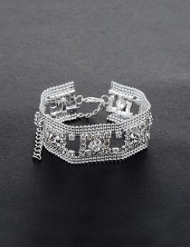 Fashion Silver Color Round Shape Diamond Decorated Simple Hollow Out Bracelet