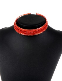 Trendy Red Beads Decorated Simple Design Pure Color Choker