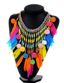 Vintage Multi-color Fuzzy Balls Decorated Tassel Design Color Matching Necklace