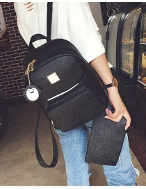 Trendy Black Penguin Pendant Decorated Pure Color Simple Backpack