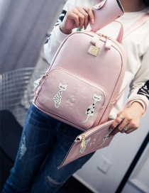 Fashion Pink Cat Pattern Decorated Pure Color Simple Backpack (3 Pcs)
