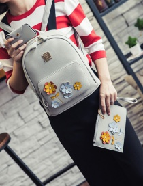 Fashion Gray Flower Shape Decorated Color Matching Backpack (3 Pcs)
