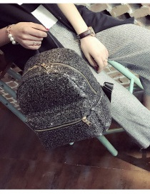 Fashion Black Sequins Decorated Pure Color Simple Backpack