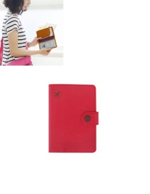 Fashion Watermelon Red Airplane Shape Pattern Decorated Pure Color Passport Wallet