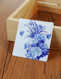 Fashion Blue Flower Pattern Decorated Simple Sticky Hook