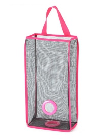 Fashion Pink Mesh Shape Decorated Hanging Design Color Matching Storage Bag