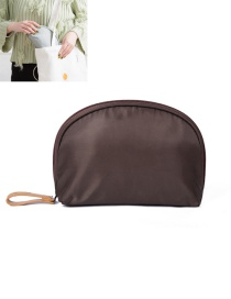 Fashion Coffee Semicircle Shape Decorated Pure Color Simple Storage Bag