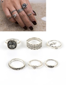 Fashion Silver Color Flower&leaf Decorated Pure Color Simple Ring(6pcs)
