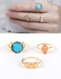 Fashion Gold Color Round Shape Diamond Decorated Color Matching Ring(3pcs)