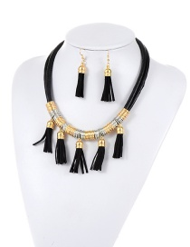 Fashion Black Tassel Pendant Decorated Pure Color Design Jewelry Sets