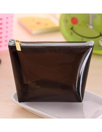 Fashion Black Pure Color Decorated Trapezoid Shape Transparent Wallet