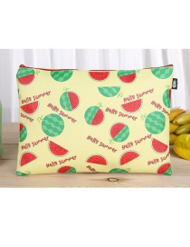 Fashion Beige Watermelon Pattern Decorated Square Shape Stationery Bag