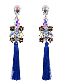 Vintage Blue Flower Shape Decorated Simple Long Tassel Earrings