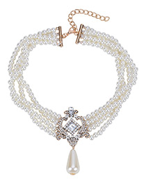 Elegant White Square Shape Diamond Decorated Simple Multilayer Necklace