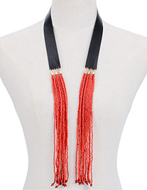 Bohemia Red Color -matching Design Long Tassel Opening Necklace