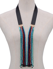 Bohemia Multi-color Color -matching Design Long Tassel Opening Necklace