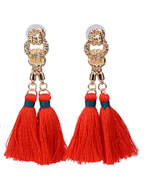 Bohemia Red Double Tassel Pendant Decorated Simple Long Earrings