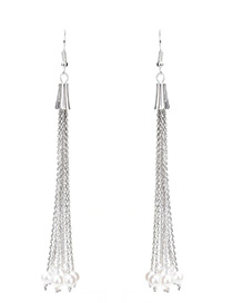 Elegant Silver Color Pure Color Decorated Simple Long Tassel Design Earrings