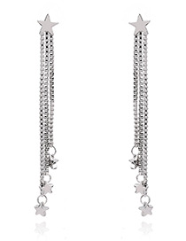 Fashion Silver Color Star Shape Decorated Simple Long Chain Pure Color Earrings