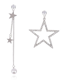 Fashion Silver Color Hollow Out Star Decorated Simple Asymmetry Earrings