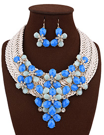 Bohemia Blue Flower Shape Decorated Simple Hand-woven Design Jewelry Sets