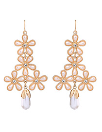 Fashion Gold Color Flower Shape Decorated Simple Long Earrings
