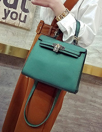 Fashion Green Buckle Decorated Pure Color Simple Shoulder Bag