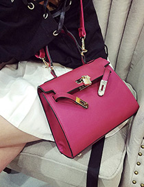 Fashion Plum Red Buckle Decorated Pure Color Simple Shoulder Bag