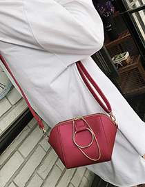 Fashion Red Circular Ring Decorated Pure Color Shell Shape Shoulder Bag
