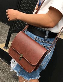 Trendy Dark Brown Buckle Decorated Pure Color Simple Shoulder Bag