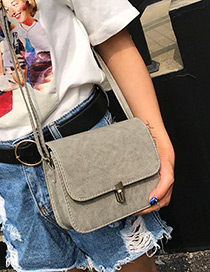 Trendy Gray Buckle Decorated Pure Color Simple Shoulder Bag