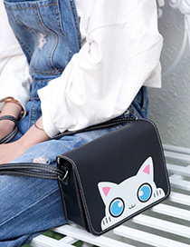 Fashion Black Cat Pattern Decorated Square Shape Shoulder Bag