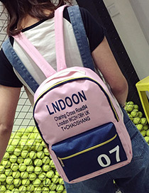 Fashion Pink Letter Pattern Decorated Color Matching Simple Backpack