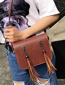 Fashion Brown Long Tassel Decorated Pure Color Simple Shoulder Bag