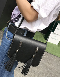 Fashion Black Long Tassel Decorated Pure Color Simple Shoulder Bag