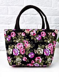 Lovely Black Painting Flower Pattern Decorated Square Shape Handbag