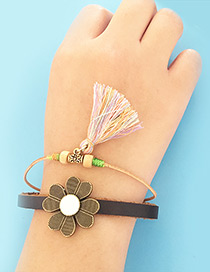 Fashion Multi-color Tassel&flower Decorared Double Layer Simple Bracelet