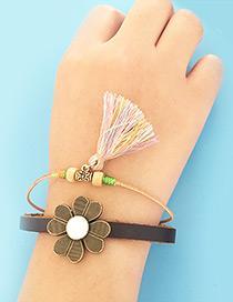 Fashion Multi-color Tassel&flower Decorared Double Layer Simple Bracelet