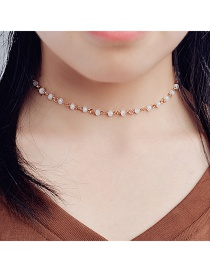 Fashion White Bead Decorated Color Matching Simple Choker