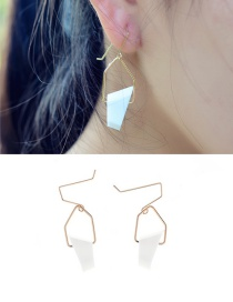 Fashion White Crystal Decorated Geometry Design Simple Earrings