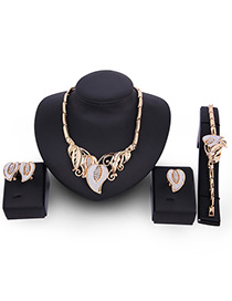 Fashion Gold Color Leaf Decorated Color Matching Simple Jewelry Sets