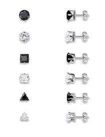 Fashion White+black Color Matching Decorated Geometric Shape Earrings (6pcs)