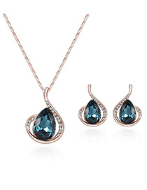 Fashion Rose Gold+blue Water Drop Shape Diamond Decorated Color Matching Jewelry Sets