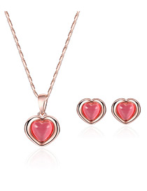 Fashion Rose Gold+plum Red Heart Shape Pendant Decorated Color Matching Jewelry Sets