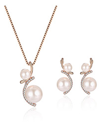 Fashion White Pearls Decorated Irregular Shape Simple Jewelry Sets