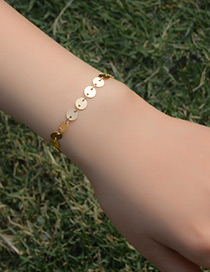 Elegant Gold Color Paillette Decorated Pure Color Simple Bracelet