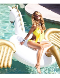 Lovely White+gold Color Pegasus Shape Decorated Simple Inflation Deck Chair