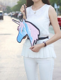 Fashion Pink Unicorn Shape Decorated Simple Color Matching Handbag